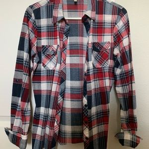 Sweaters - Red and navy plaid flannel